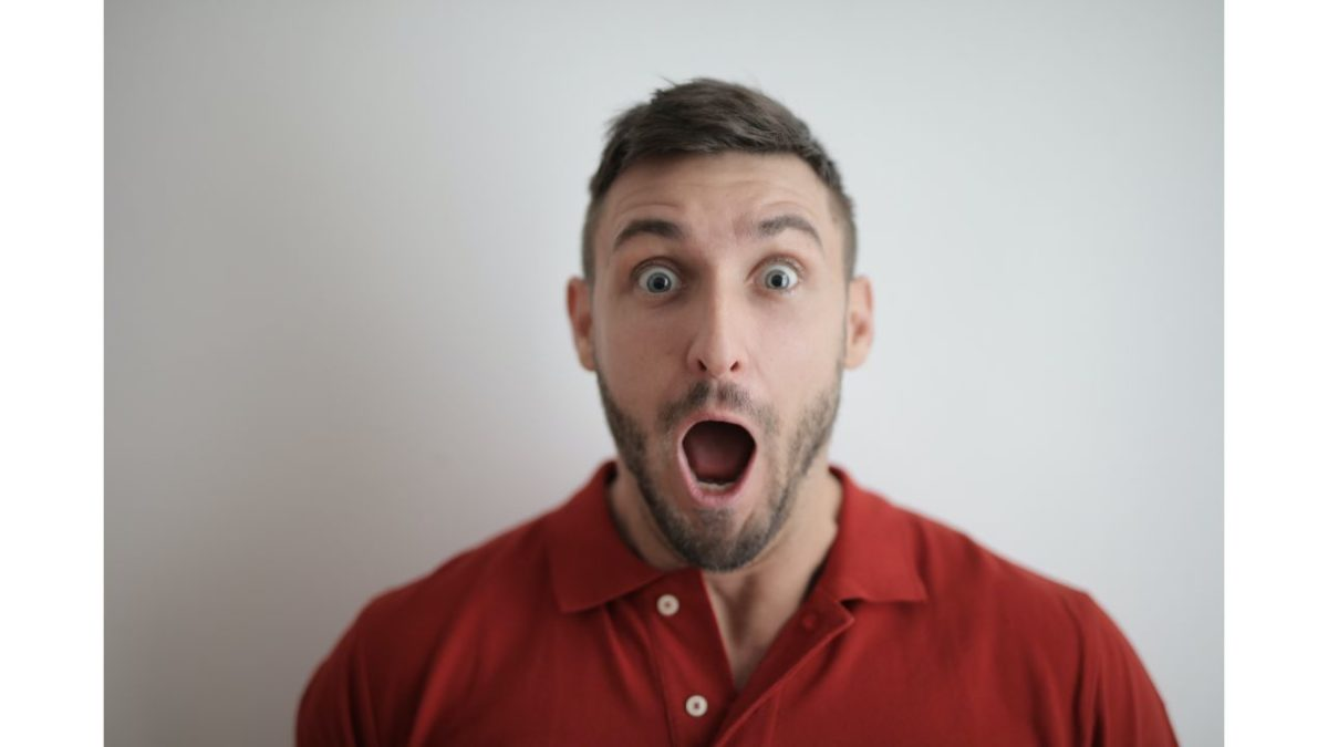 the man is surprised